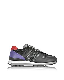 Running R261 Black and Purple Leather, High-tech Fabric and Lurex Women's Sneakers - Hogan