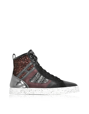 R141 Smooth Leather and Suede wi/Tweed and Glitter Fabric High-top Women's Sneakers