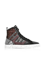 Hogan Sneaker Hig Top R141 in Tweed, Pelle e Suede - hogan - it.forzieri.com