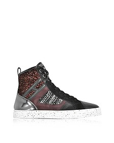 R141 Smooth Leather and Suede wi/Tweed and Glitter Fabric  High-top Women's Sneakers  - Hogan