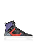 Hogan Sneaker High Top R141 in Pelle Nera e Viola - hogan - it.forzieri.com