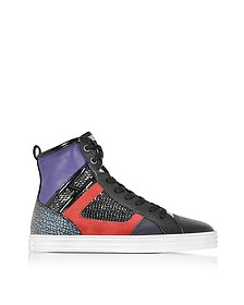 R141 Smooth Leather and Suede with High-tech Fabric and Sequins High-top Women's Sneakers  - Hogan