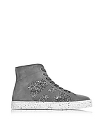 Hogan Sneaker High Top R141 in Pelle e Suede con Paillettes Grigio Piombo - hogan - it.forzieri.com