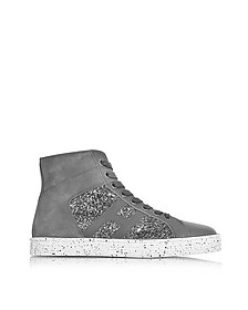 R141 Pewter Leather and Suede with sequins Hgh-top Women's Sneakers  - Hogan