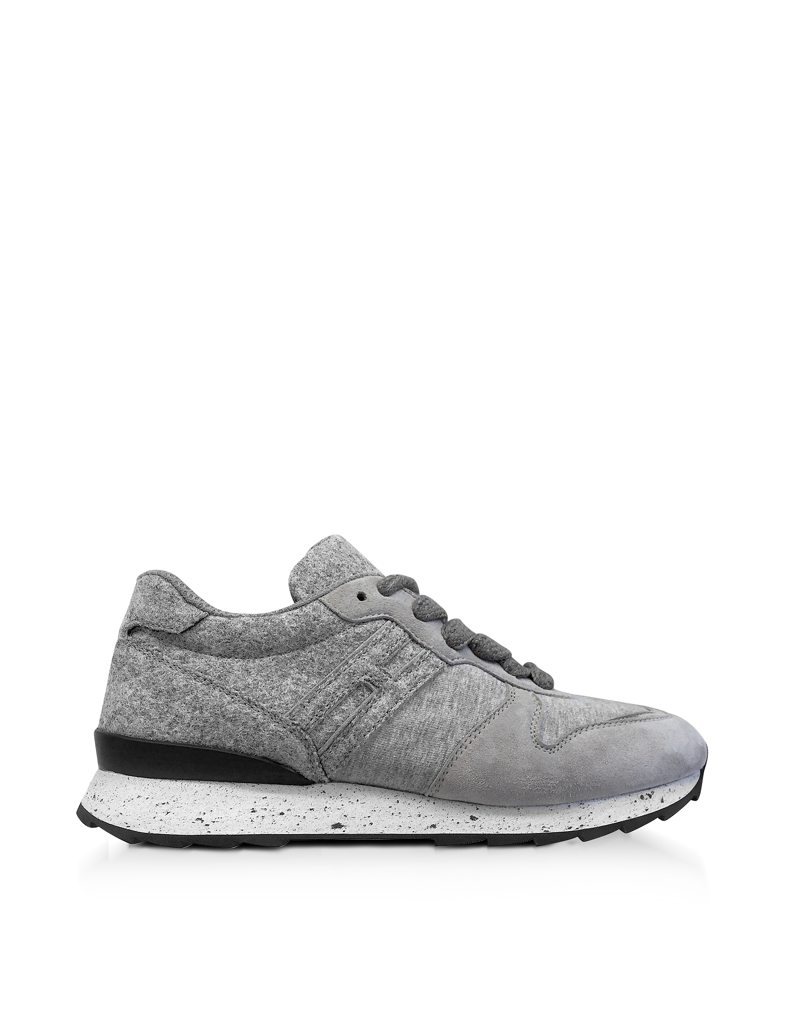Hogan Shoes, Running R261 Gray Felt and Suede Sneakers