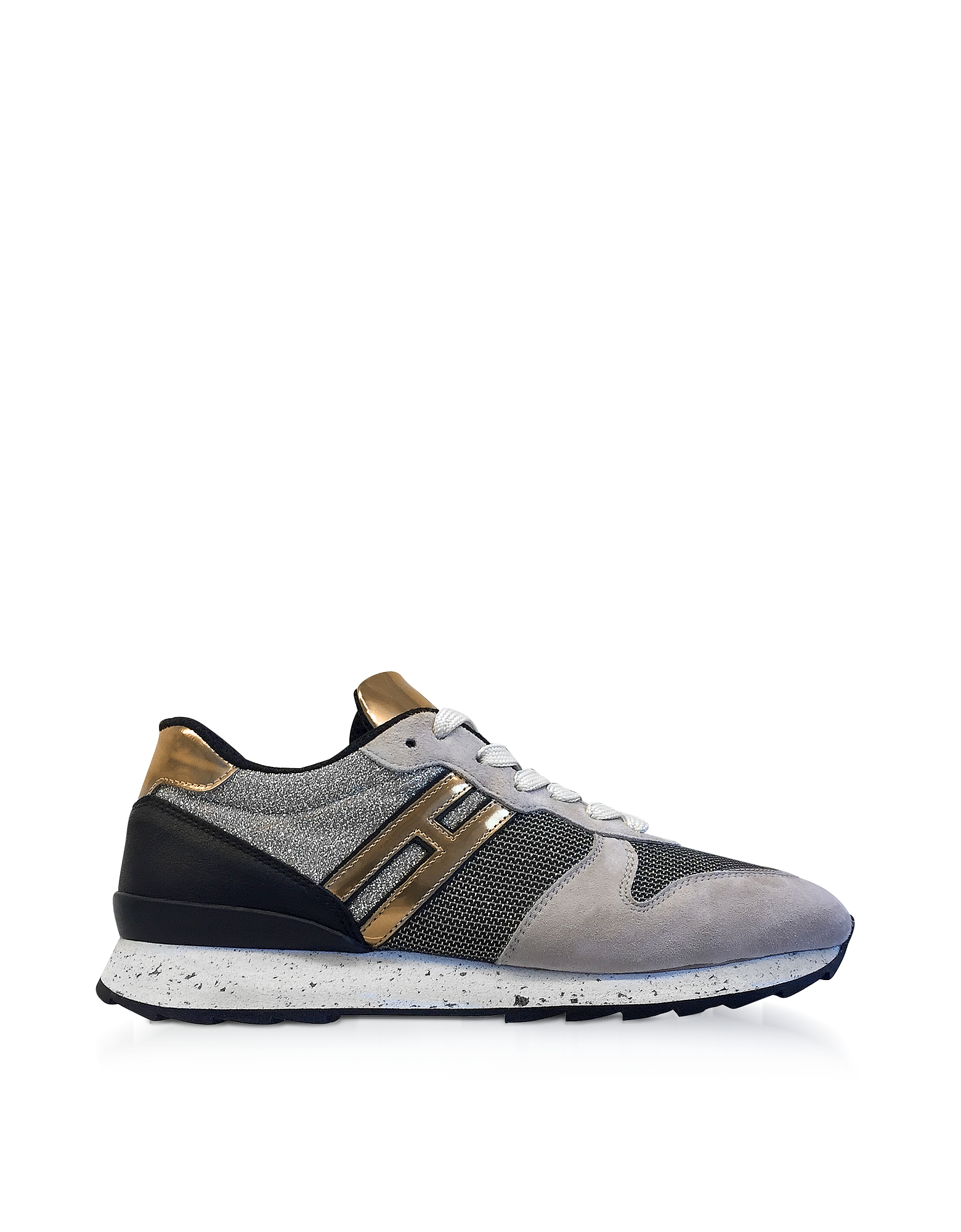 Hogan Shoes, R261 Lurex, Suede and Metallic Leather Sneakers