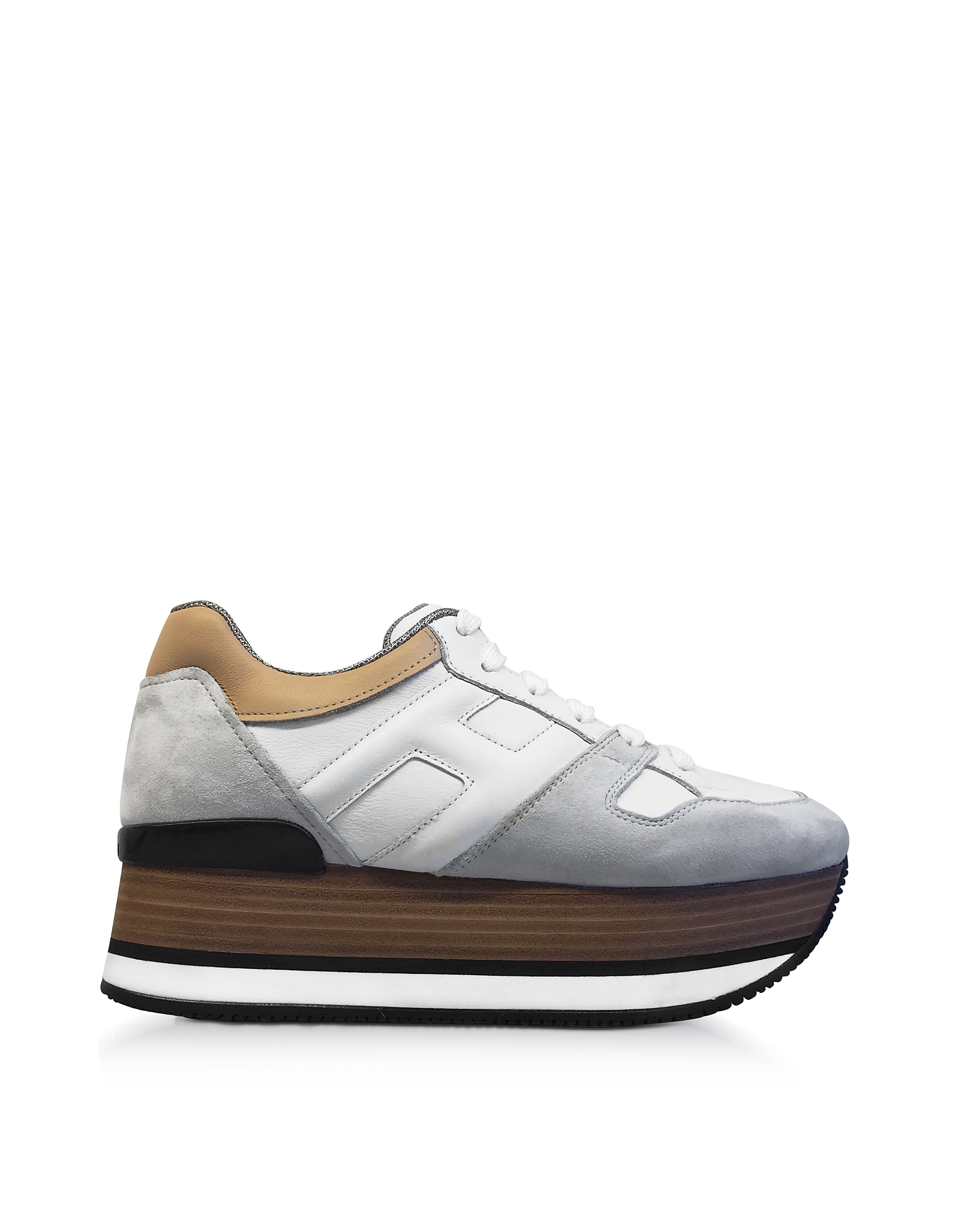 Hogan Shoes, Maxi H222 Suede and Leather Ultra-light Wood-Effect Flatform Sneakers