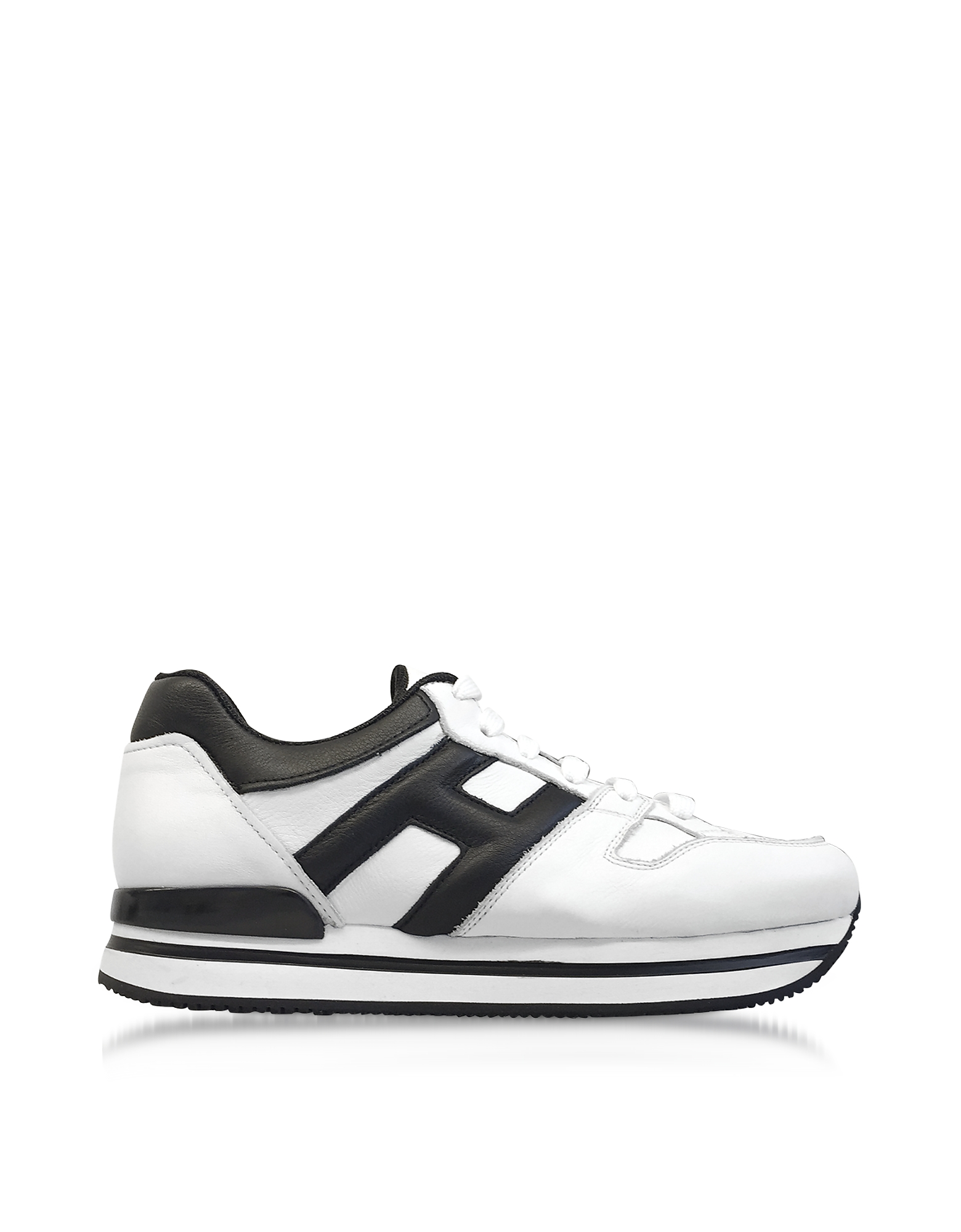 Hogan Shoes, Maxi H222 Black and White Leather Ultra-light Flatform Sneakers