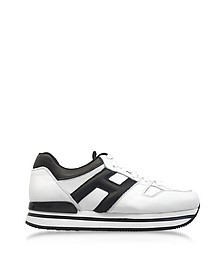 Maxi H222 Black and White Leather Ultra-light Flatform Sneakers - Hogan