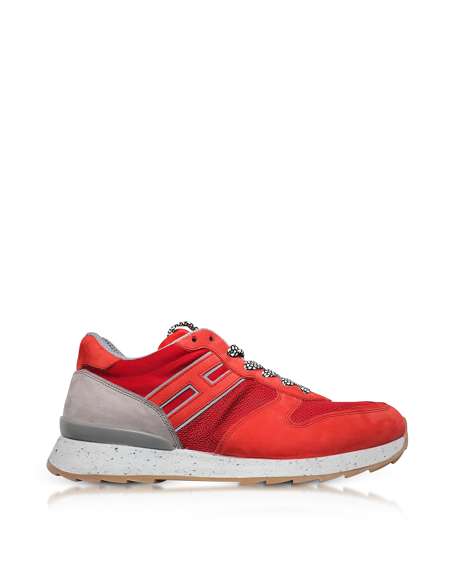 Hogan Shoes, Running R261 Red Nylon and Nubuck Men's Sneakers