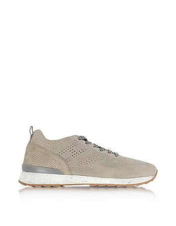 Hogan - R261 Beige Perforated Suede Mid Top Men's Sneakers