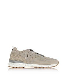 R261 Beige Perforated Suede Mid Top Men's Sneakers - Hogan