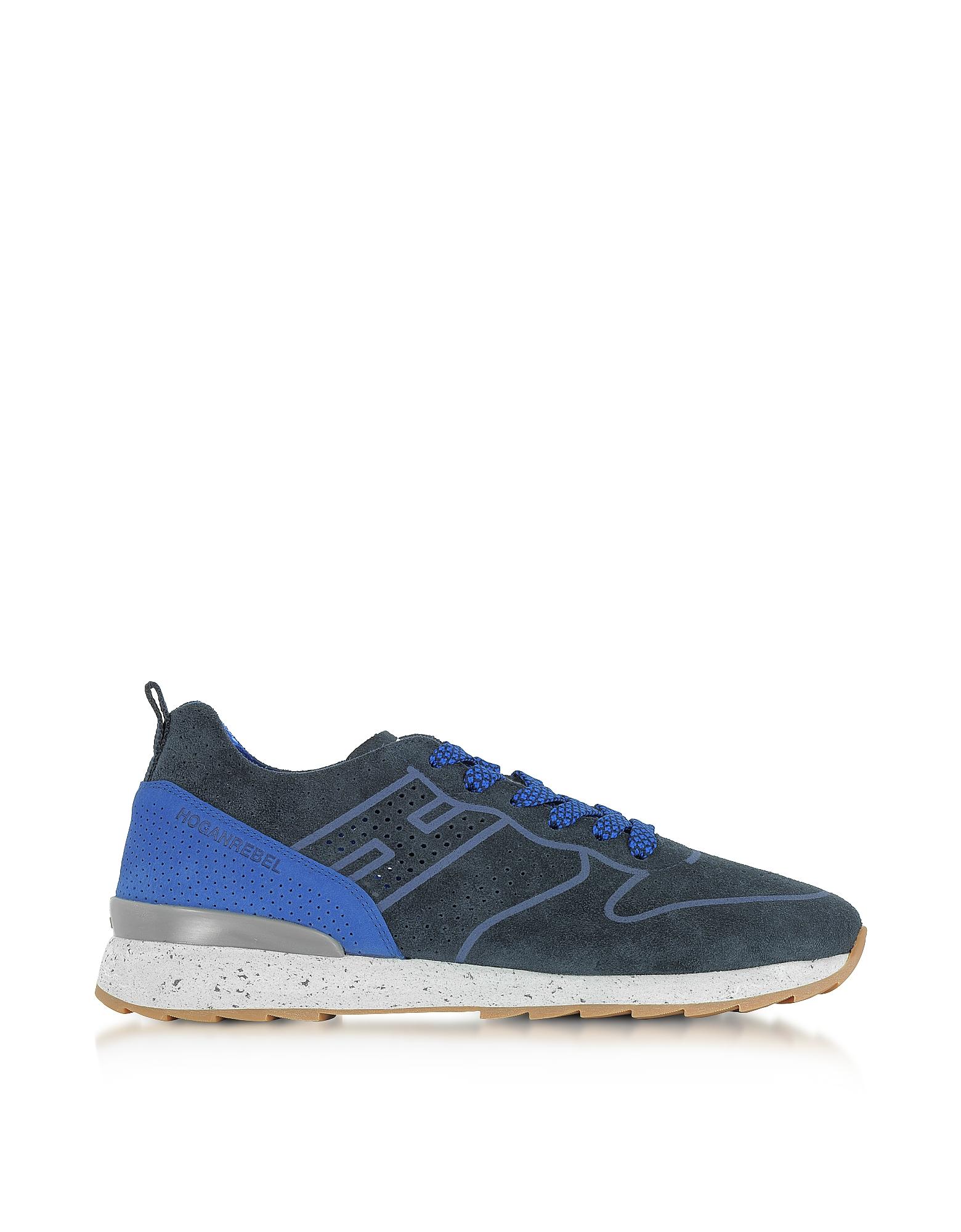 R261 - Синие Перфорированные Мужские Кроссовки из Замши
