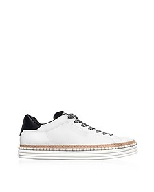 R260 Off White Leather Men's Sneakers w/Woven Rope Edge - Hogan