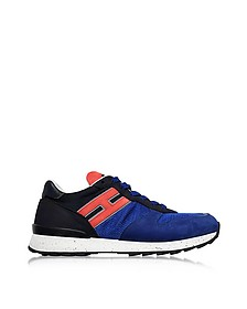 Running R261 Blue Nylon and Nubuck Men's Sneakers - Hogan