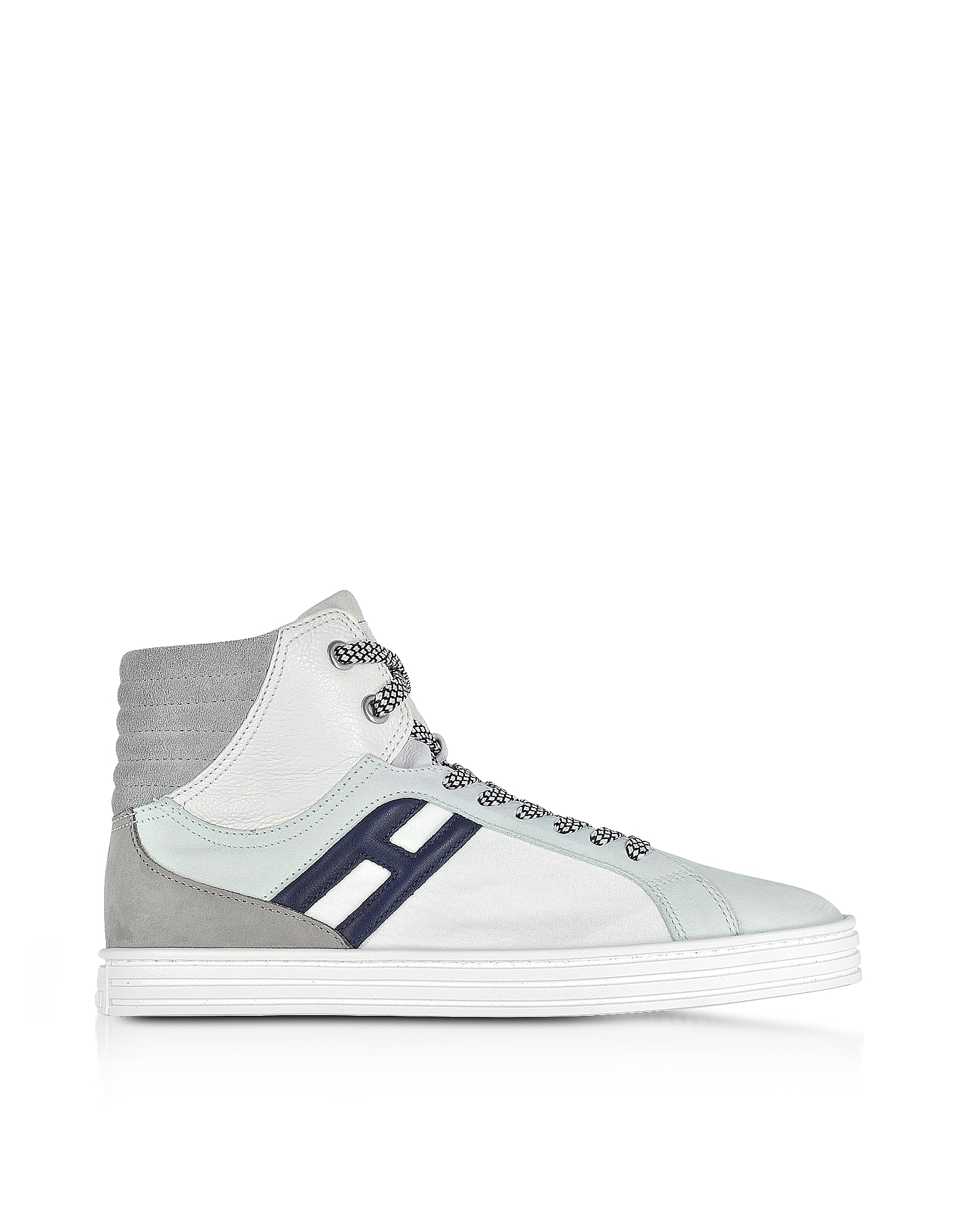 Hogan Shoes, R141 White Nylon and Leather High Top Sneakers