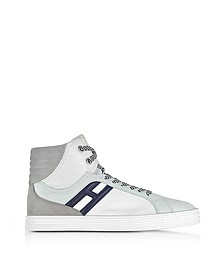 R141 White Nylon and Leather High Top Sneakers - Hogan