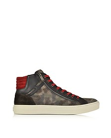 Multicolor Leather and Suede High Top Sneaker - Hogan Rebel