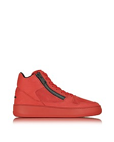 Hogan Rebel Pure R28 - Sneakers Montantes Homme en Cuir Lisse et Nubuck Rouge - Hogan Rebel