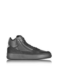 Hogan Rebel Pure R28 - Sneakers Montantes Homme en Cuir Lisse et Nubuck Noir - Hogan Rebel