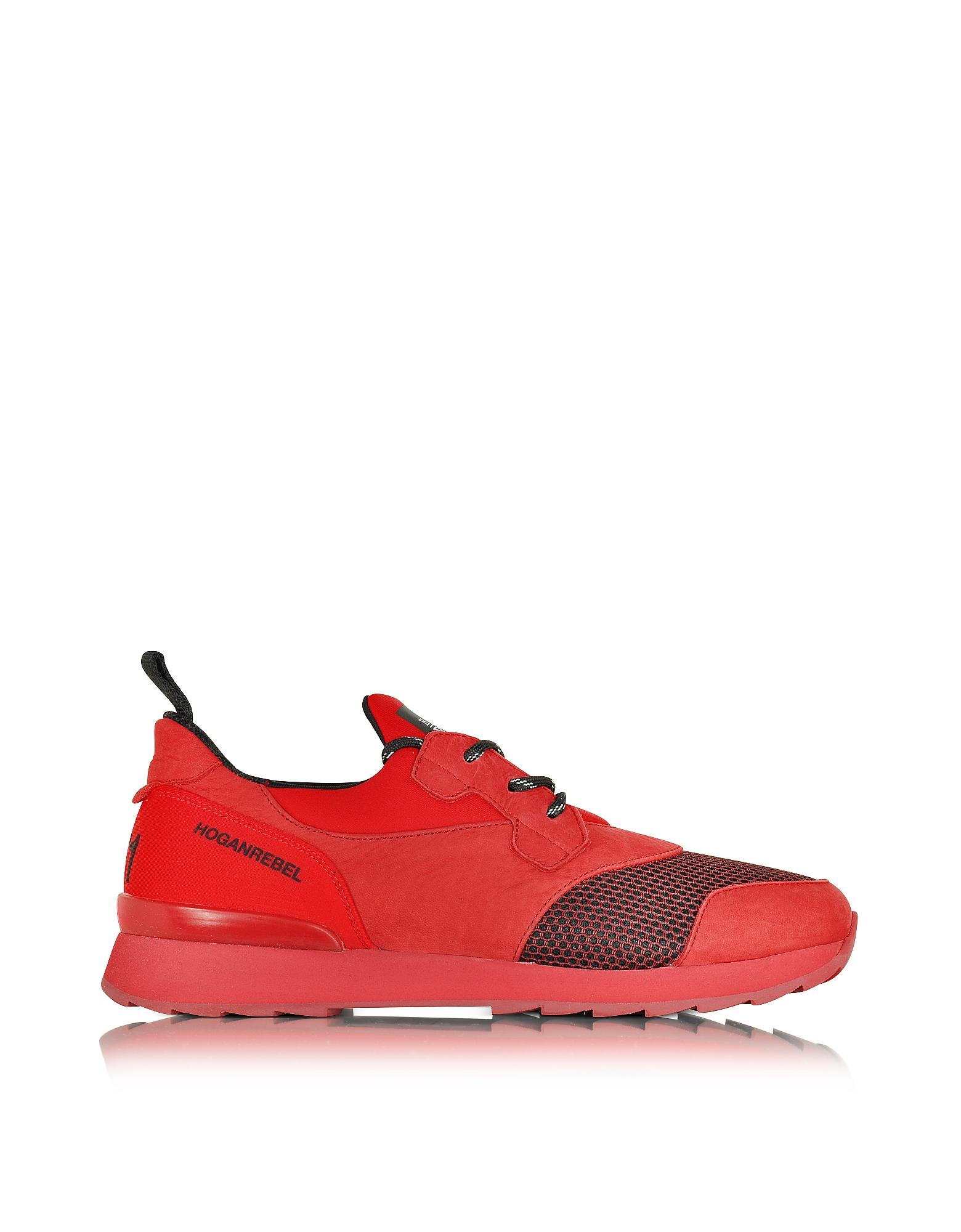Running R261 - Красные Мужские Кроссовки Слиперы из Набука и Неопрена