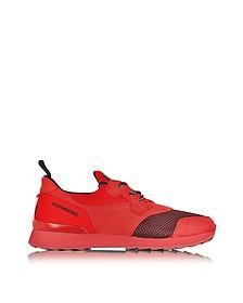 Running R261 Red Nubuck and Neoprene Slip on Men's Sneaker - Hogan Rebel