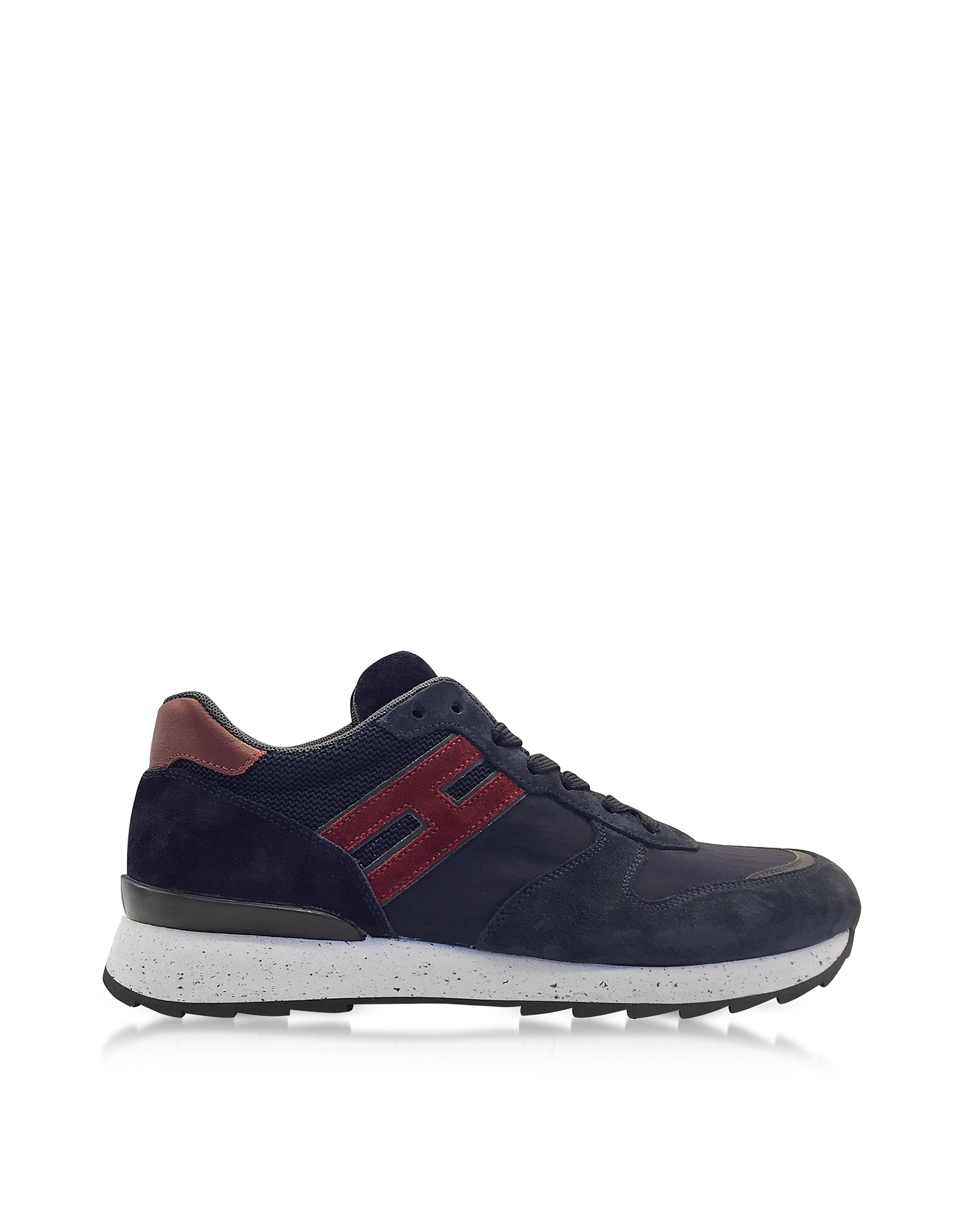 Hogan Shoes, R261 Running Blue Suede and High-tech Net Fabric Sneakers