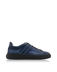 H340 Dark Blue Used-effect Leather Sneakers - Hogan