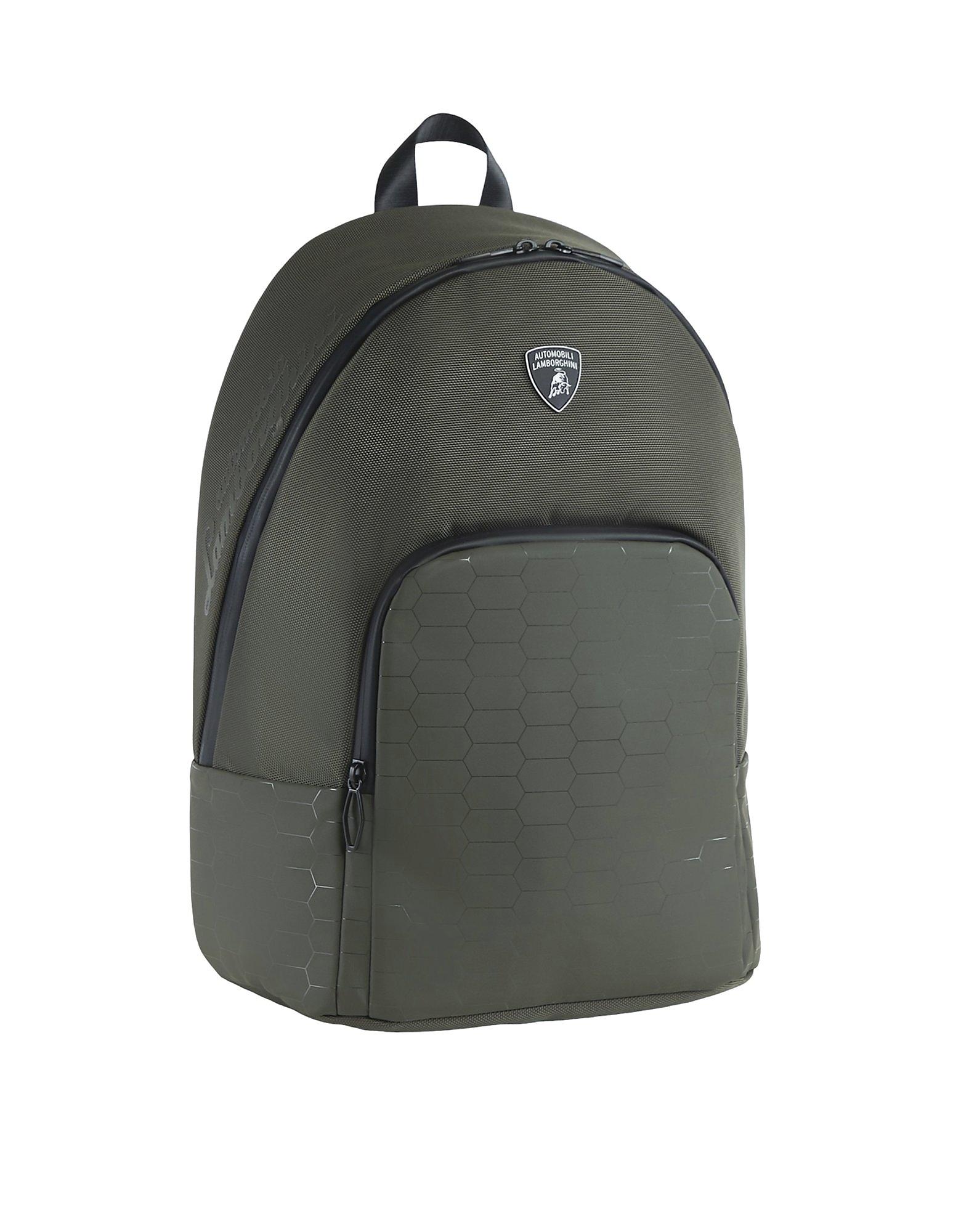 Lamborghini Automobili Designer Men's Bags, LMBG5 Green Nylon Men's Backpack