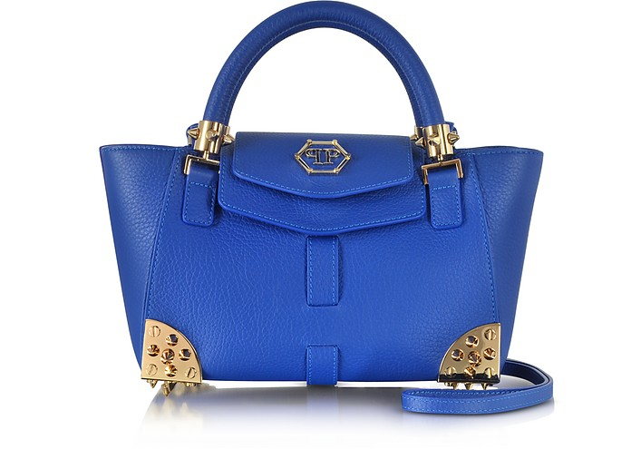 Charlotte Small Blue Jeans Satchel w/Shoulder Strap - Philipp Plein
