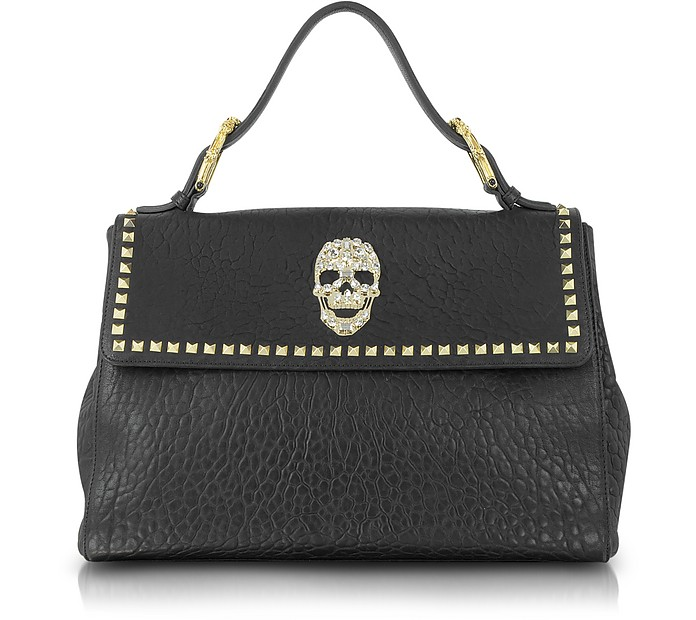 Classic Diamond Skull Leather Satchel - Philipp Plein