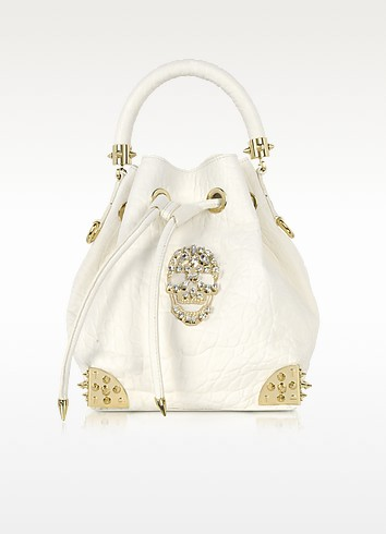 Baby Dinamite Skull Leather Bucket Bag - Philipp Plein