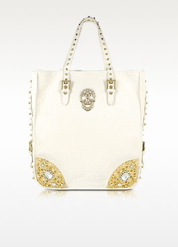 Large White Leather Dynamite Tote - Philipp Plein
