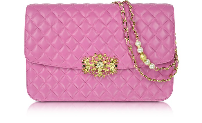 Exclusive Pink Quilted Leather Shoulder Bag - Philipp Plein