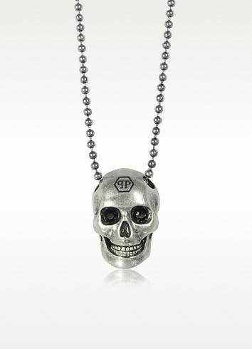 Silver Tone Metal Skull Necklace w/Black Crystals - Philipp Plein