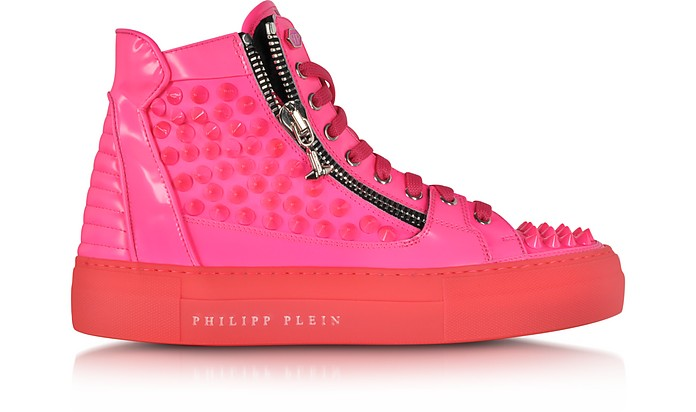 Clever Neon Pink High Top Sneaker - Philipp Plein