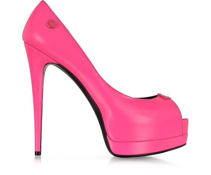 Fuchsia Leather Peeptoe Provocateur Pump - Philipp Plein