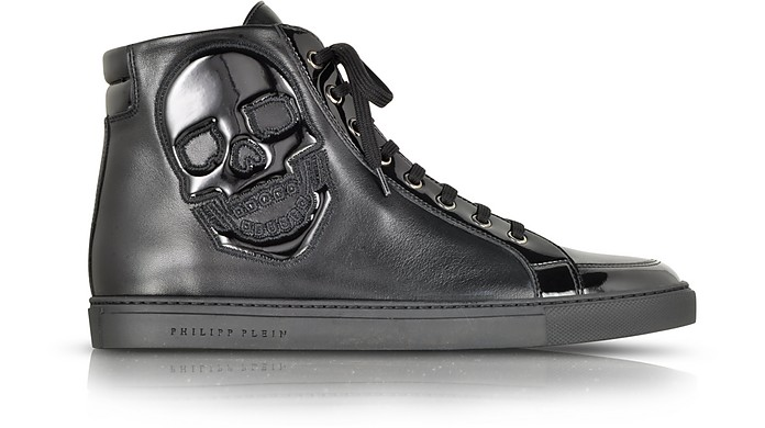 Skully Black Leather Sneaker - Philipp Plein