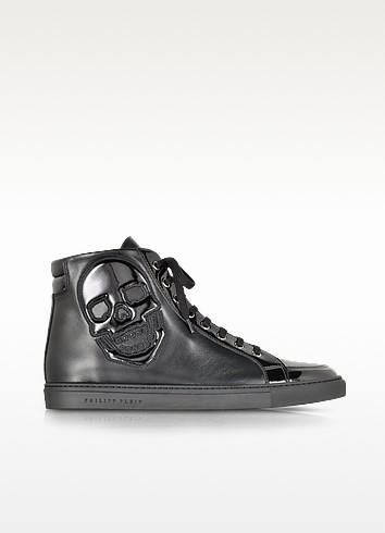 Skully Black Leather Sneaker - Philipp Plein