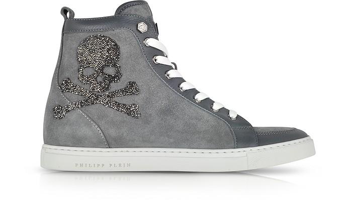 Skulls Grey Suede w/Crystals Sneaker - Philipp Plein