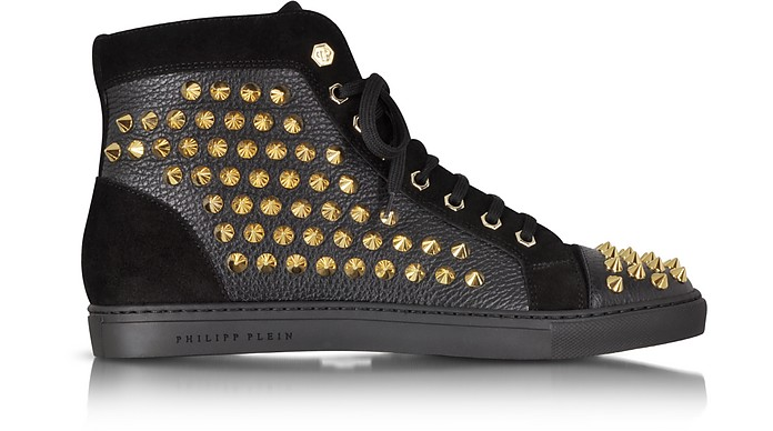 Black Studded High Top Sneaker - Philipp Plein