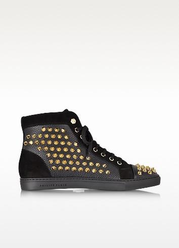 Black Studded High Top Sneaker - Philipp Plein