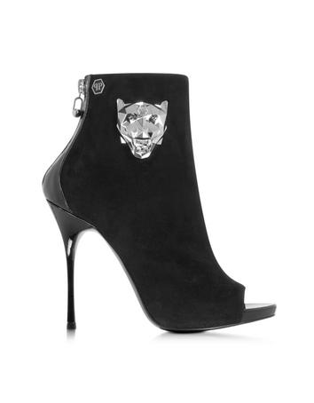 Yesterday Black Suede and Patent Leather Open Toe Bootie
