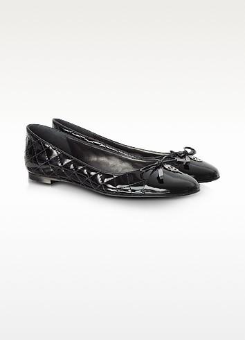 Black Quilted Patent Leather 'Squared' Ballerina - Philipp Plein