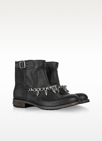 Rocktail Bay - Black Leather Ankle Boots - Philipp Plein