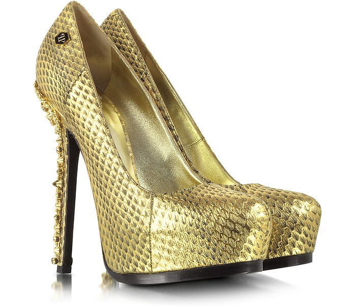 Impressive Golden Embossed Leather Platform Pump - Philipp Plein