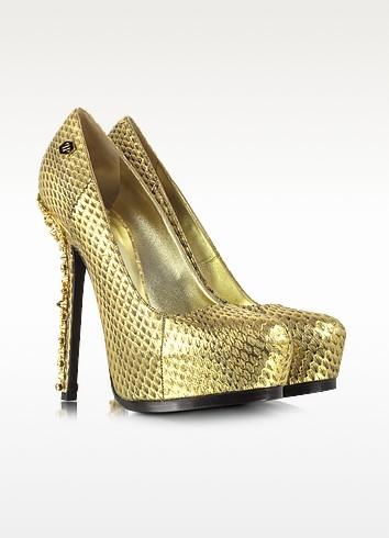 Impressive Golden Embossed Leather Platform Pump - Philipp Plein