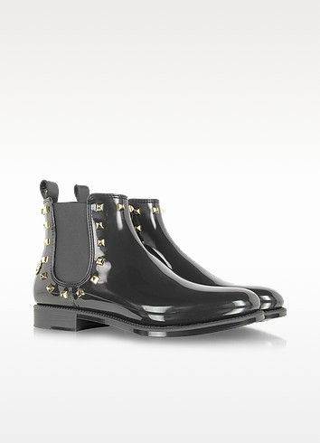 Black Rivets Gummy Ankle Boot - Philipp Plein