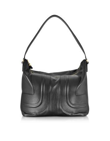 Kay Black Leather Hobo Bag