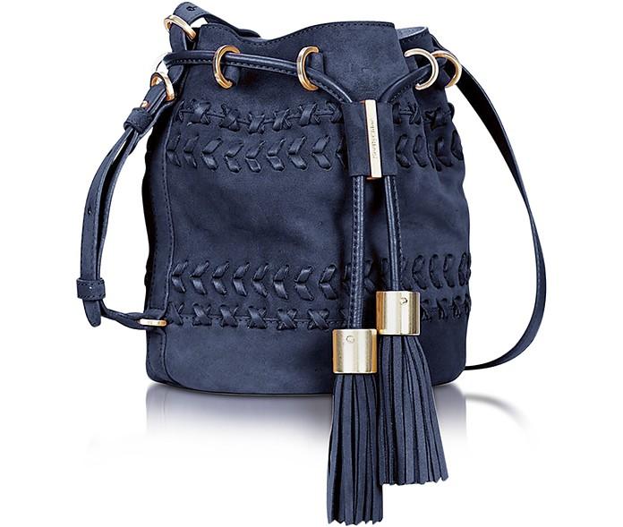 Vicki Ultramarine Braided Leather & Suede Bucket Bag w/Tassels - See by Chloé